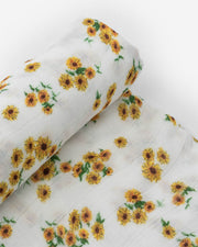 Deluxe Muslin Swaddle Blanket - Ditsy Sunflower