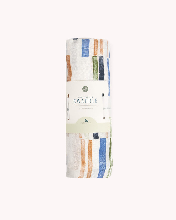 Deluxe Muslin Swaddle Blanket - Weston Stripe