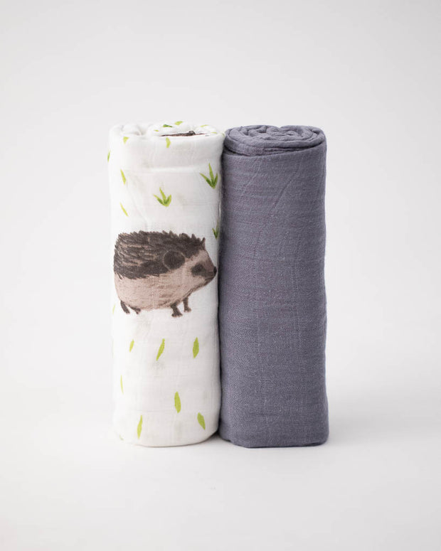 Deluxe Muslin Swaddle Blanket Set - Charcoal Hedgehog