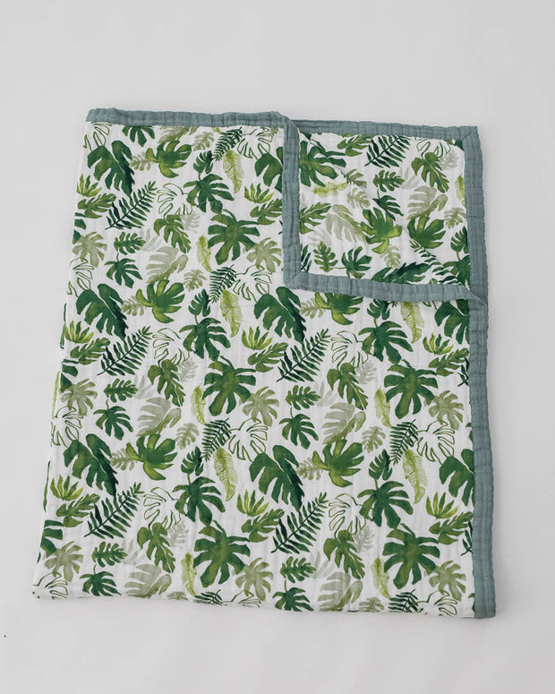 Big Kid Cotton Muslin Quilt- Tropical Leaf