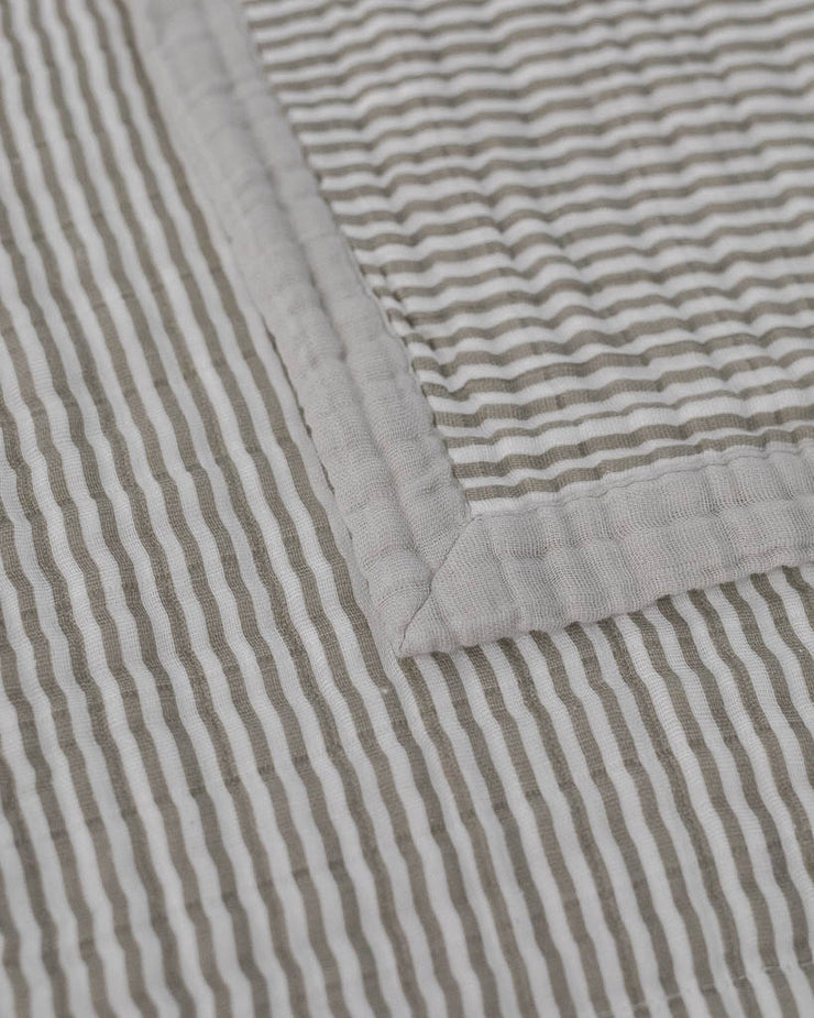 Big Kid Cotton Muslin Quilt- Grey Stripe