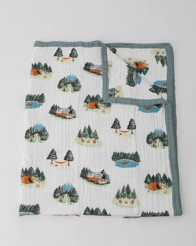 Big Kid Cotton Muslin Quilt - Happy Camper
