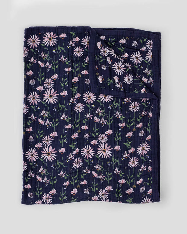 Big Kid Cotton Muslin Quilt- Dark Coneflower