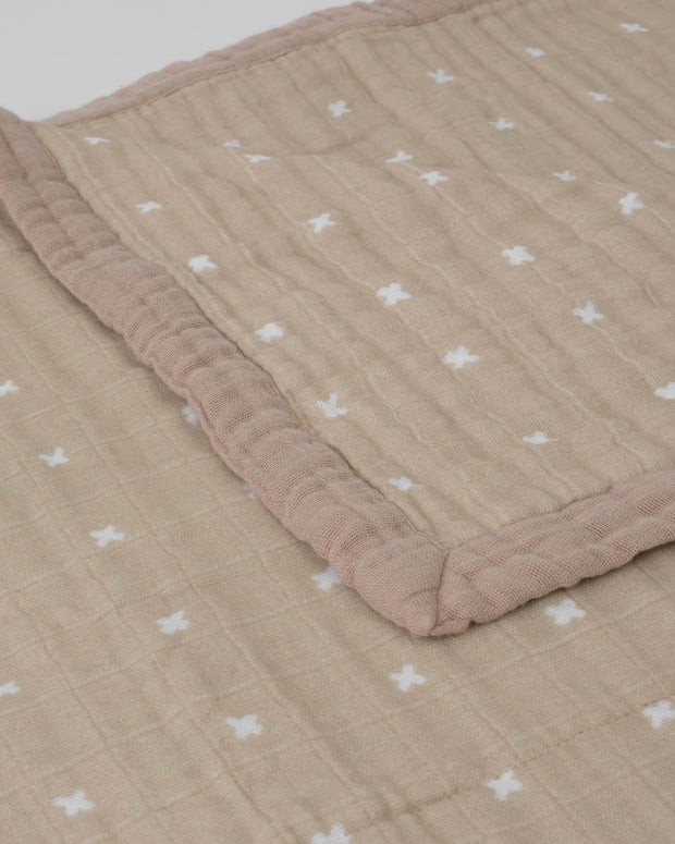 Big Kid Cotton Muslin Quilt - Taupe Cross