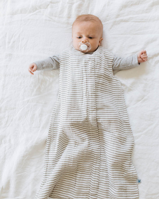 Cotton Muslin Sleep Bag - Grey Stripe