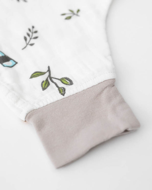 Cotton Muslin Sleep Romper - Forest Friends