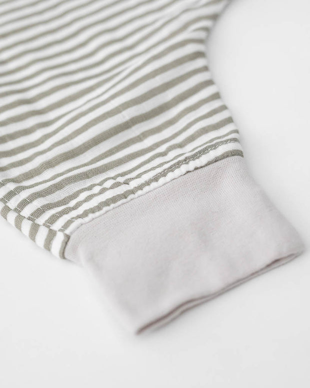Cotton Muslin Sleep Romper - Grey Stripe