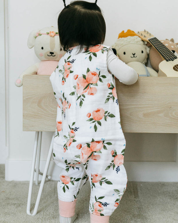 Cotton Muslin Sleep Romper - Watercolor Roses