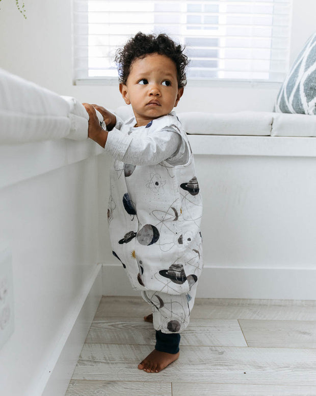 Cotton Muslin Sleep Romper - Planetary