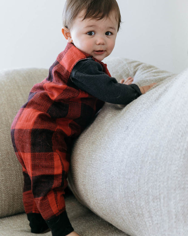 Cotton Muslin Sleep Romper - Red Plaid
