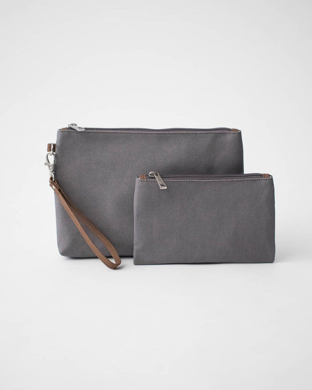 Canvas Pouch Set - Grey