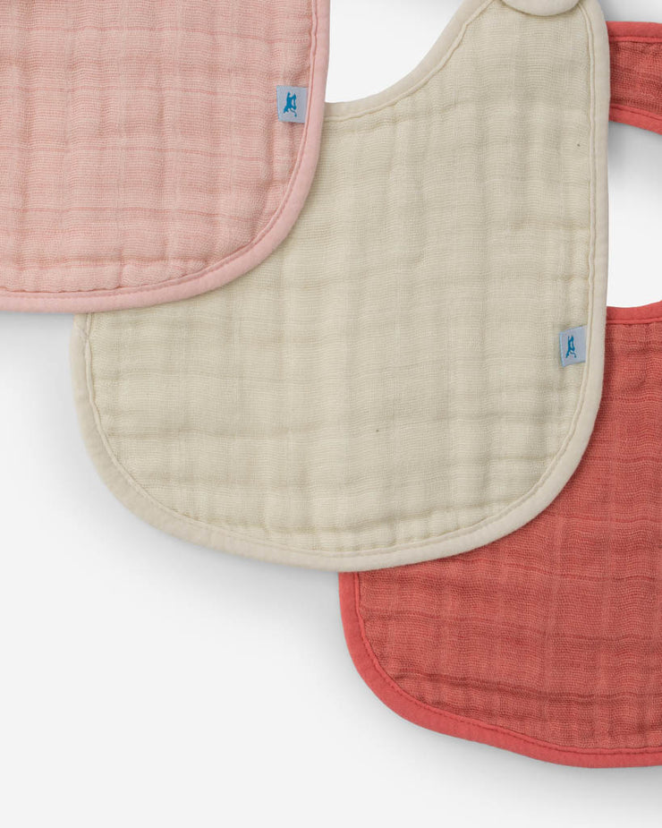 Cotton Muslin Classic Bib 3 Pack - Rose Petal Set