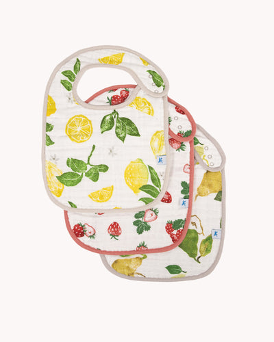 Cotton Muslin Classic Bib 3 Pack - Fruit Stand Set