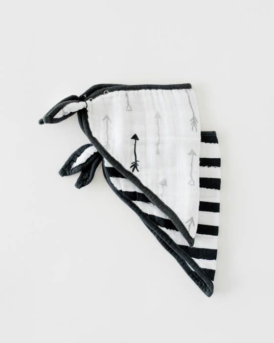 Cotton Muslin Bandana Drool Bib - Ink Stripe