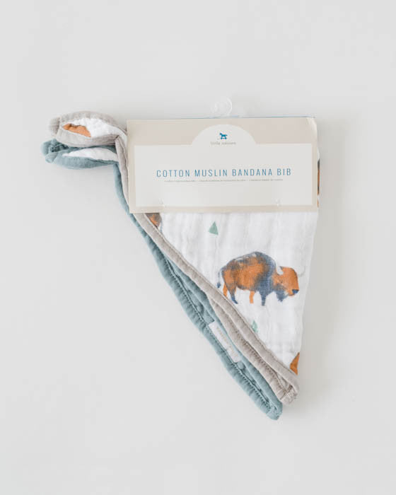 Cotton Muslin Bandana Drool Bib - Bison