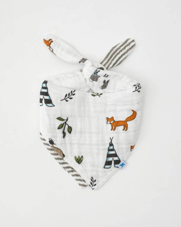 Cotton Muslin Reversible Bandana Bib - Forest Friends