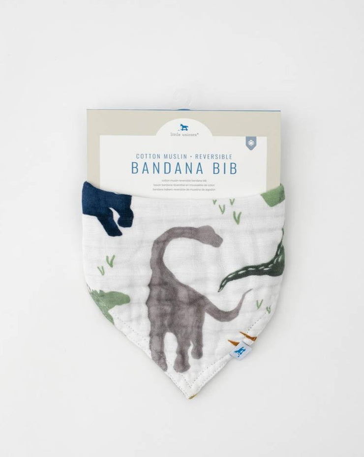 Cotton Muslin Reversible Bandana Bib - Dino Friends