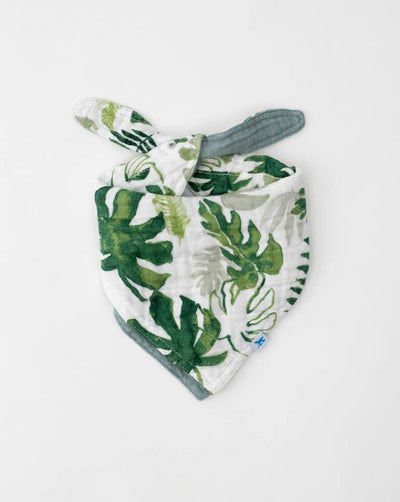 Cotton Muslin Reversible Bandana Bib - Tropical Leaf