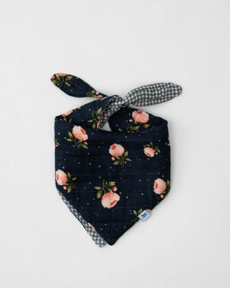 Cotton Muslin Reversible Bandana Bib - Midnight Rose