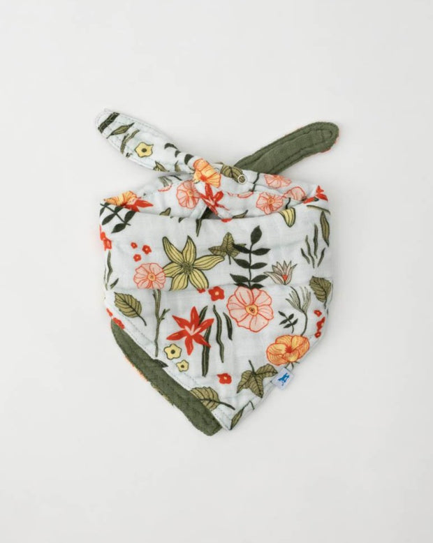 Cotton Muslin Reversible Bandana Bib - Primrose Patch