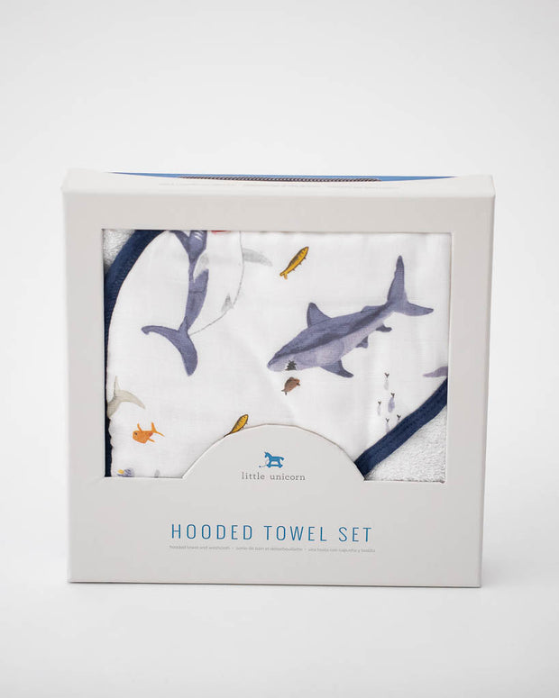 Hooded Towel & Wash Cloth - Shark