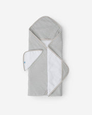 Hooded Towel & Washcloth Set - Grey Stripe