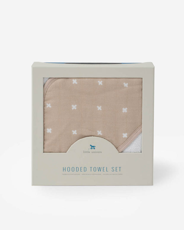 Hooded Towel & Washcloth Set - Taupe Cross