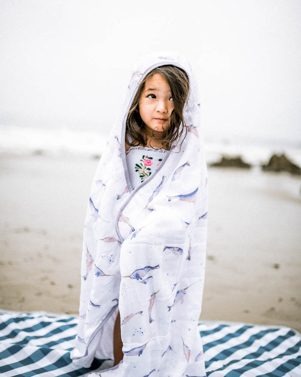 Big Kid Hooded Towel - Narwhal