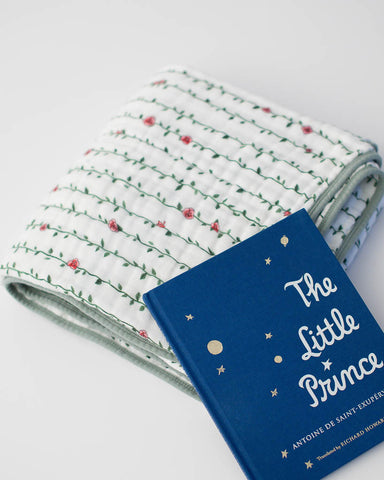 Little Prince Rose Vine Quilt + Hardcover Book Gift Set
