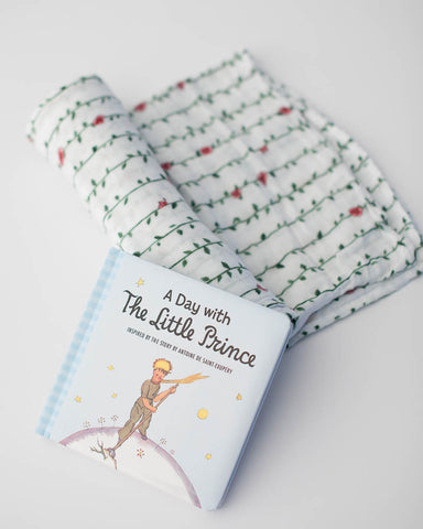 Little Prince Rose Vine Swaddle Blanket + Book Gift Set