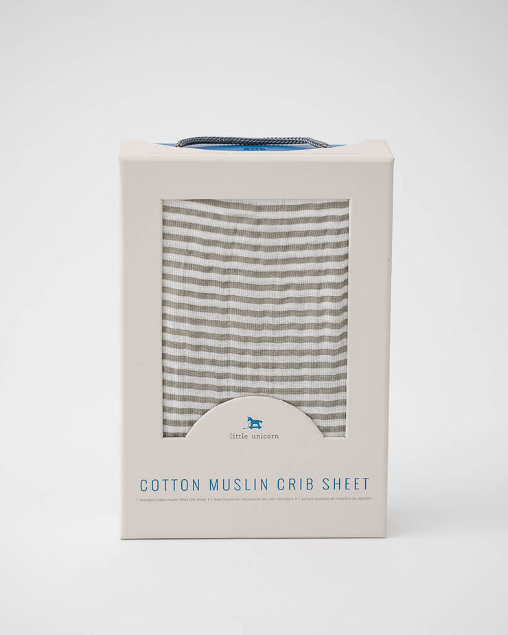 Cotton Muslin Crib Sheet - Grey Stripe