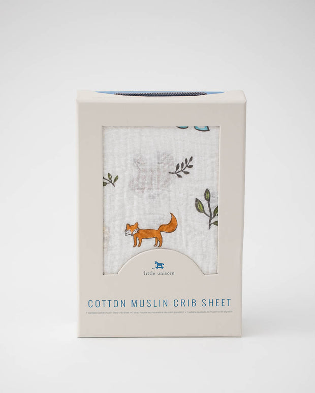 Cotton Muslin Crib Sheet - Forest Friends
