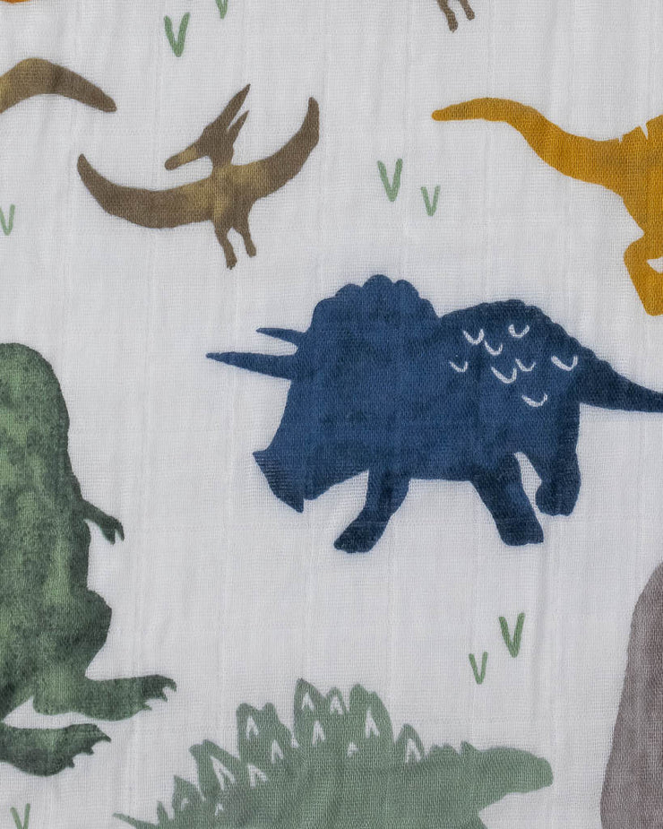 Cotton Muslin Crib Sheet - Dino Friends