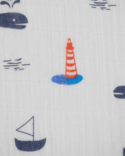 Cotton Muslin Crib Sheet - Nautical Harbor