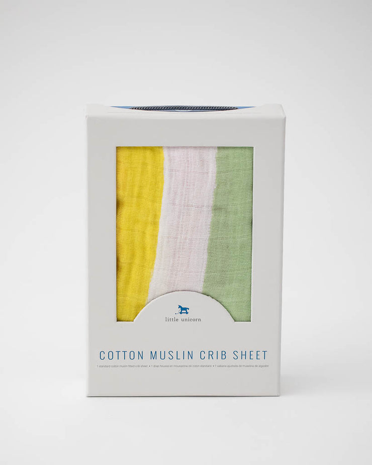 Cotton Muslin Crib Sheet - Cabana Stripe