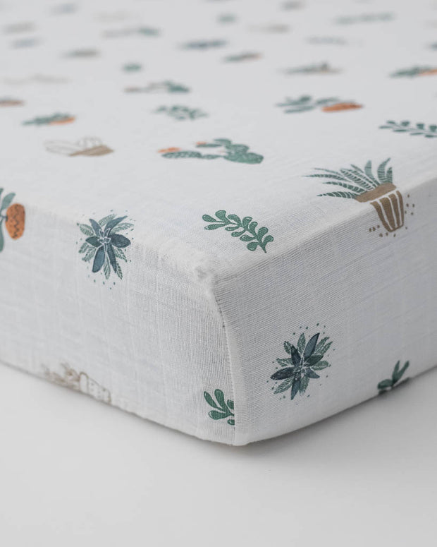 Cotton Muslin Crib Sheet - Prickle Pots