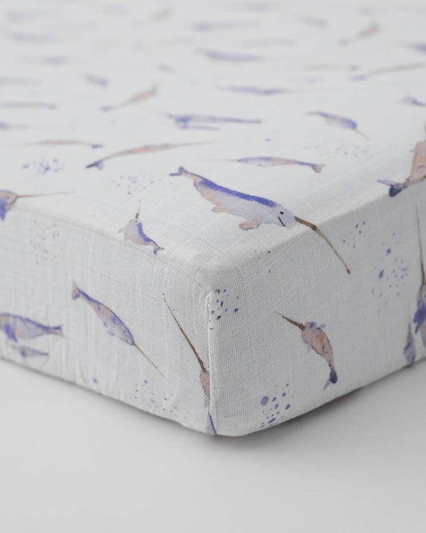 Cotton Muslin Crib Sheet - Narwhal