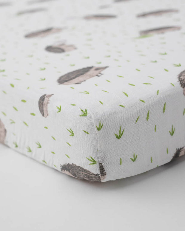 Cotton Muslin Crib Sheet - Hedgehog