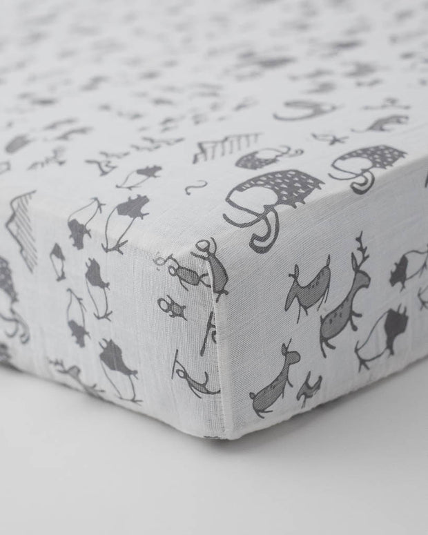 Cotton Muslin Crib Sheet - Cave Art