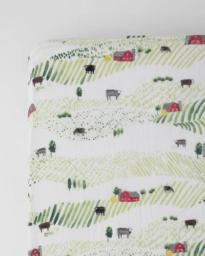 Cotton Muslin Crib Sheet - Rolling Hills
