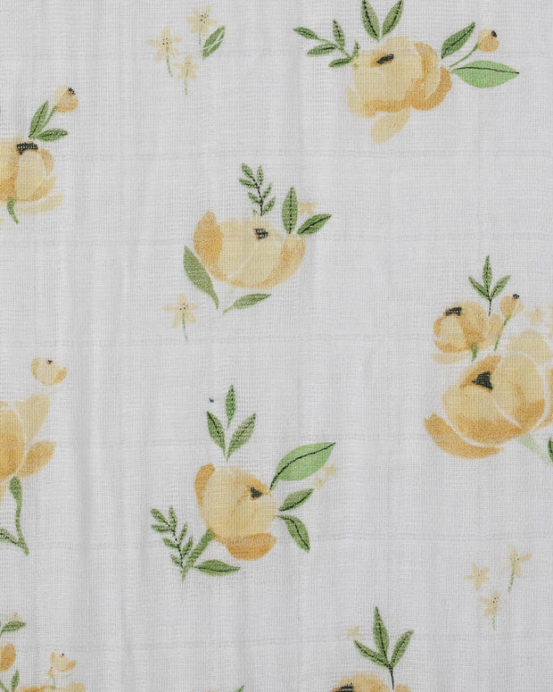 Cotton Muslin Crib Sheet - Yellow Rose