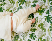 Cotton Muslin Crib Sheet - Tropical Leaf