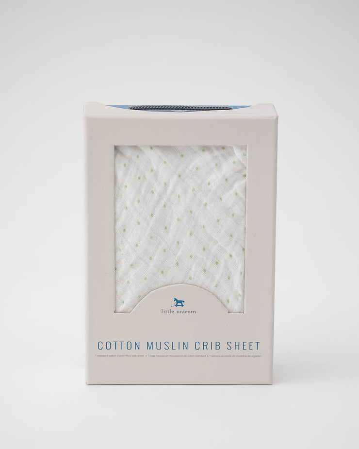 Cotton Muslin Crib Sheet - Green Dot