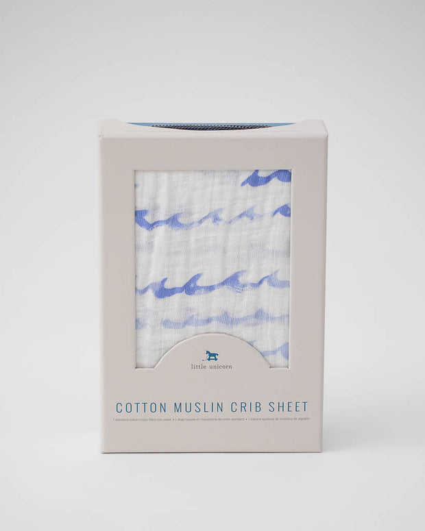 Cotton Muslin Crib Sheet - High TIde