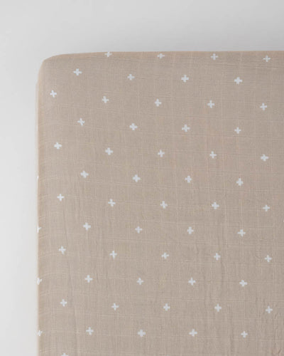 Cotton Muslin Crib Sheet - Taupe Cross