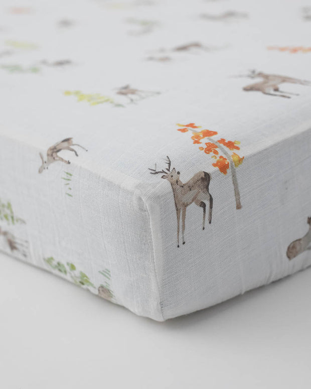 Cotton Muslin Crib Sheet - Oh Deer