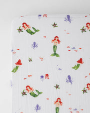 Cotton Muslin Crib Sheet - Mermaid