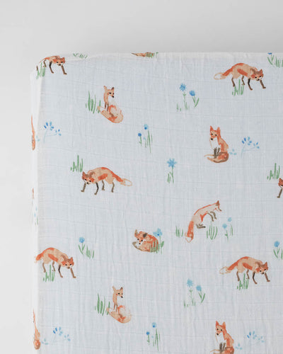 Cotton Muslin Crib Sheet - Fox