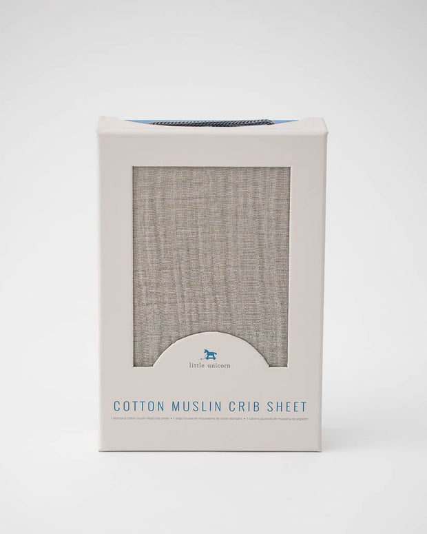 Cotton Muslin Crib Sheet - Warm Grey
