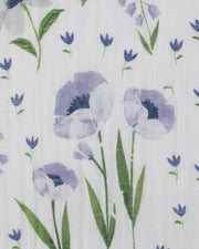 Cotton Muslin Crib Sheet - Blue Windflower